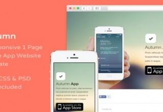 دانلود قالب HTML برای معرفی اپلیکیشن موبایل Autumn